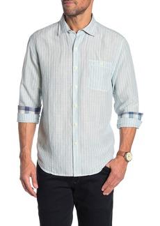 Tommy Bahama Sand Linen Blend Stripe Long Sleeve Shirt