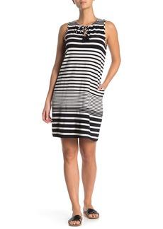 Tommy Bahama Split Neck Striped Dress