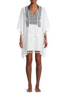 Tommy Bahama Tassel-Trim Split Neck Coverup