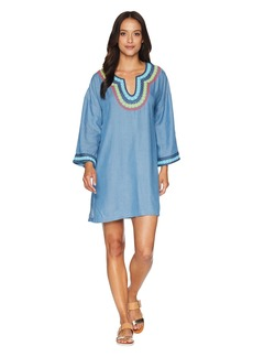 Tommy Bahama Tencel Chambray Embroidered Tunic Cover-Up