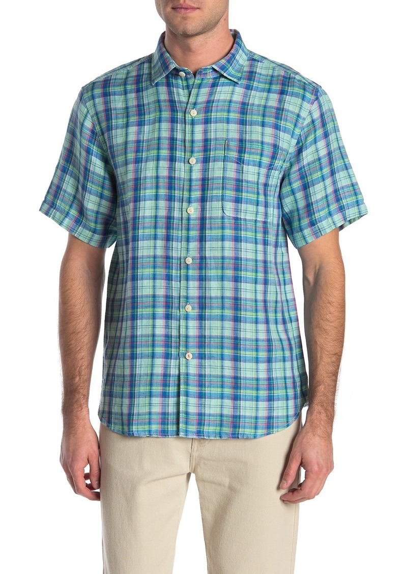 Tommy Bahama The Switch Up Classic Fit Plaid Short Sleeve Linen Blend Button-Up Shirt