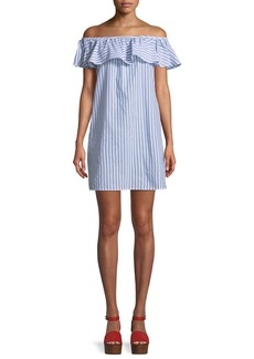 Tommy Bahama Ticking Stripe Off-Shoulder Ruffle Mini Dress