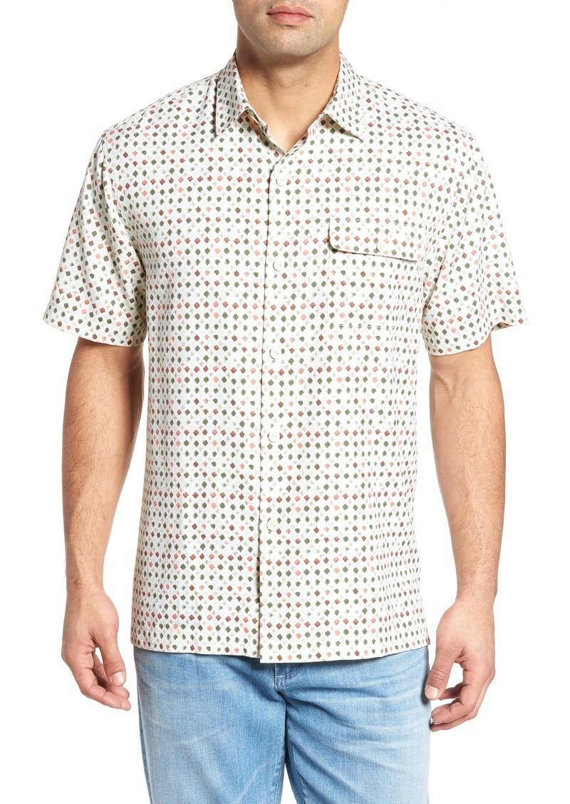 Tommy Bahama Atomic Geo Print Silk Sport Shirt