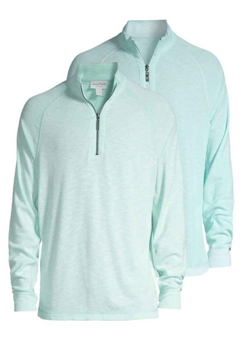 Tommy Bahama Barrier Beach Reversible Quarter-Zip Pullover