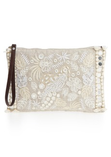 Tommy Bahama Belize Embroidered Canvas Wristlet