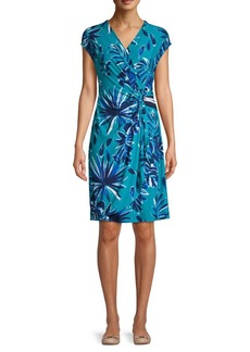 Tommy Bahama Blitz Botanical-Print Faux Wrap Short Dress