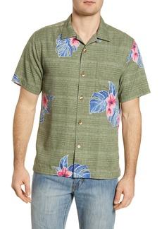 Tommy Bahama Blooms Adrift Short Sleeve Silk Blend Button-Up Camp Shirt