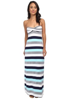 Tommy Bahama Bold Stripe & Mini Anchor Long Bandeau Cup Dress w/ Tie Back and Slits Cover-Up