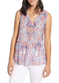 Tommy Bahama Brilliant Bazaar Cotton & Silk Sleeveless Top