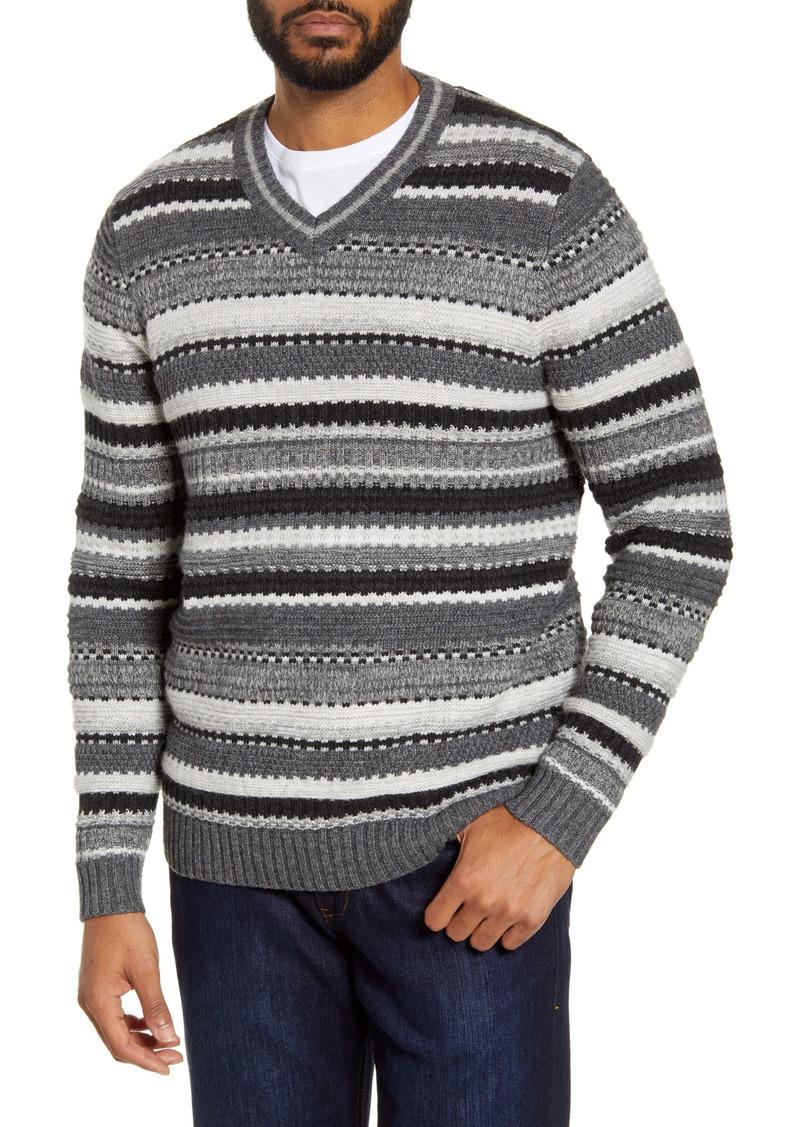 Tommy Bahama Charcoal Stripe V-Neck Sweater