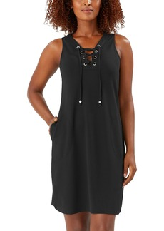 Tommy Bahama Colorblock Lace-Up Cover-Up Dress