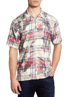 Tommy Bahama Continental Floral Plaid Short Sleeve Button-Up Silk Camp Shirt
