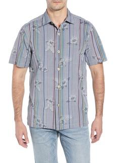Tommy Bahama Costa Cascade Floral Stripe Silk Blend Shirt