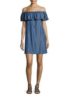 Tommy Bahama Cotton Chambray Off-the-Shoulder Coverup Dress