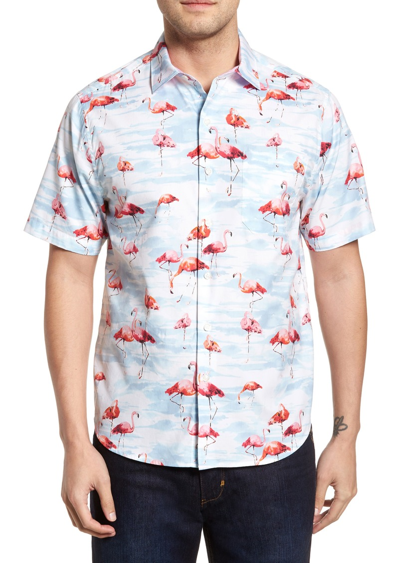 0df0a70c Tommy Bahama Tommy Bahama Delano Flamingo Cotton & Silk Camp Shirt ...