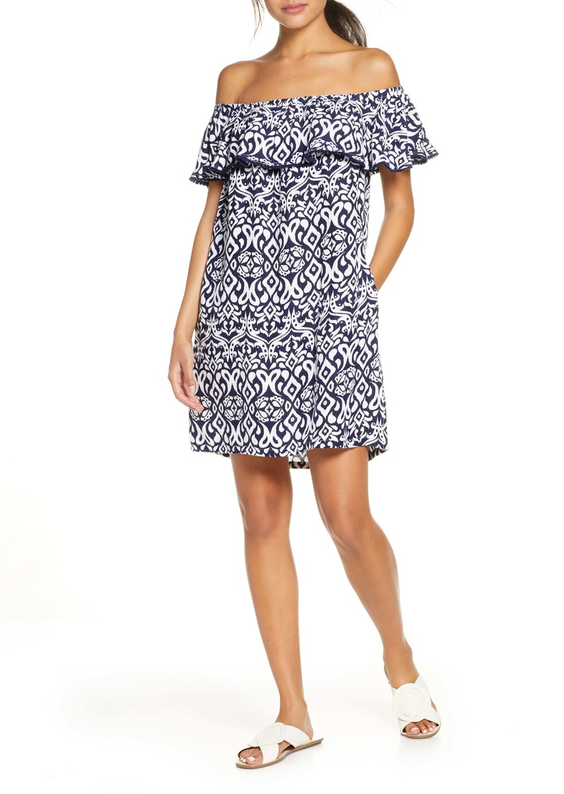 Tommy Bahama Diamond Ikat Ruffle Cover-Up Dress