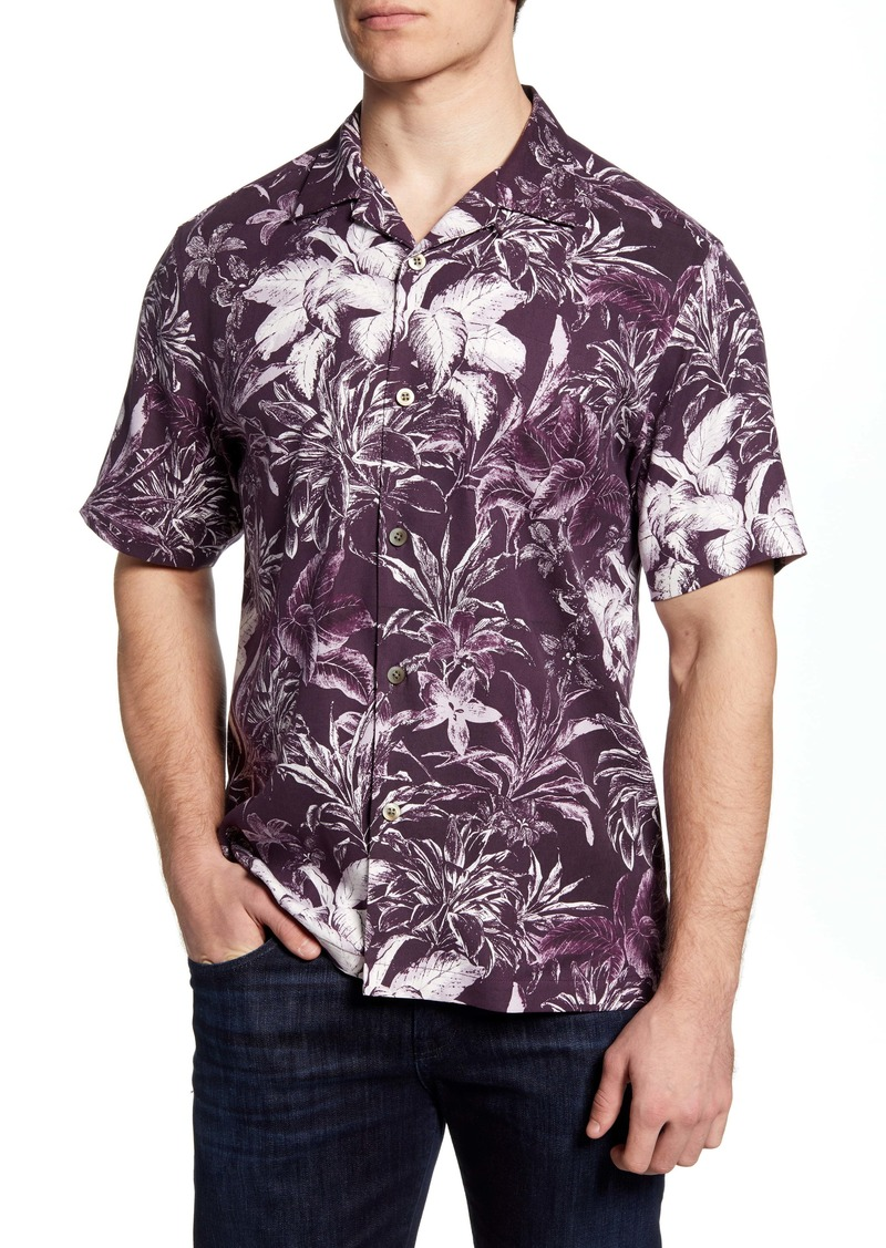 Tommy Bahama Elegant Sketch Classic Fit Short Sleeve Button-Up Silk Shirt