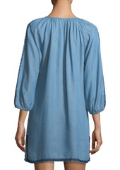 36c971c0fb802 Tommy Bahama Embroidered Split-Neck Chambray Tunic