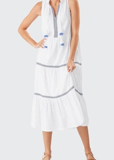 Tommy Bahama Embroidered Tassel Coverup Midi Dress