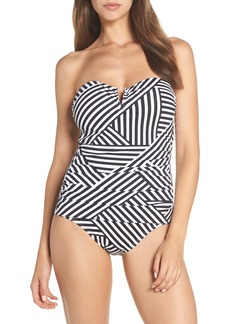 Tommy Bahama Fractured Stripe V-Wire Bandeau One-Piece