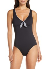Tommy Bahama Gingham Reversible One-Piece Swimsuit