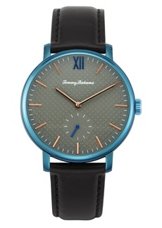 Tommy Bahama Hampton Bay Genuine Black Leather Watch