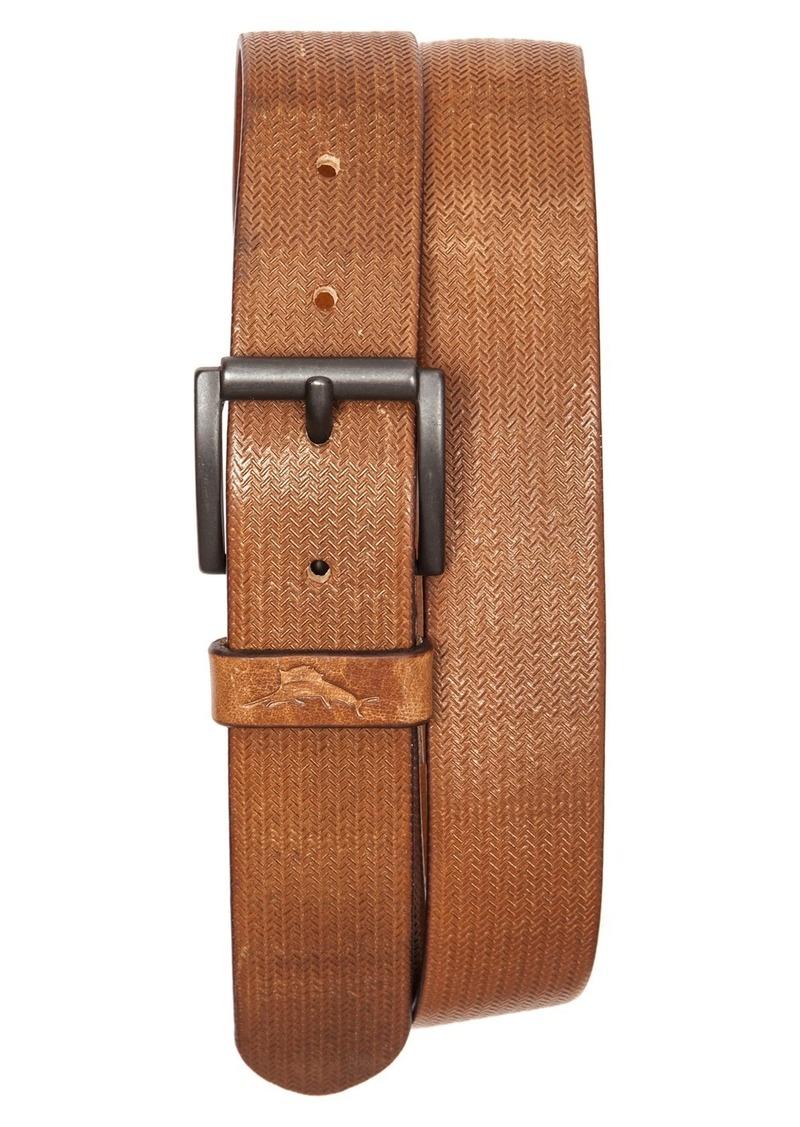 Tommy Bahama Herringbone Embossed Leather Belt