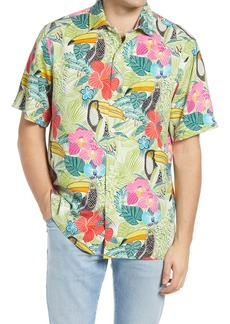 Tommy Bahama If One Can Toucan Floral Short Sleeve Silk Men's Button-Up Shirt