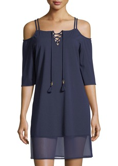 Tommy Bahama Lace-Front Cold-Shoulder Tunic Coverup