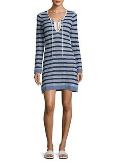 Tommy Bahama Linen-Blend Striped Tunic Sweater Coverup