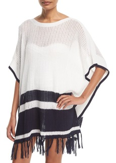 Tommy Bahama Linen-Cotton Striped Poncho Coverup