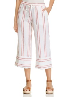 Tommy Bahama Marcella Embroidered-Stripe Cropped Linen Pants
