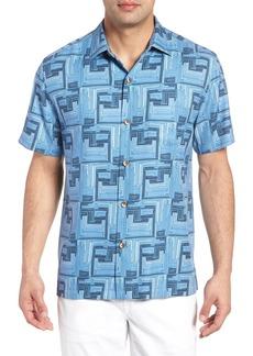 Tommy Bahama Mayan Maze Silk Blend Performance Camp Shirt