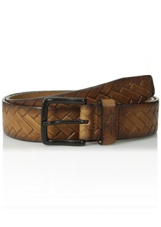 Tommy Bahama Men's 100% Leather Braid Belt tan