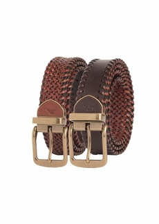 Tommy Bahama Men's 100% Leather Reversible Braided Belt
