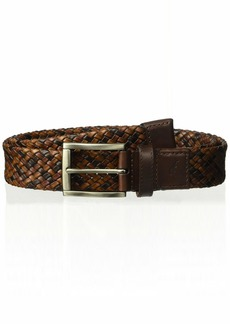 Tommy Bahama Men's 100% Leather Tricolored Braided Belt-tan