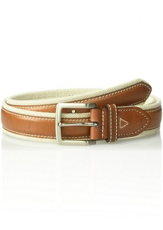 Tommy Bahama Men's 1.5 in. Canvas Belt With Genuine Leather Overlay natural