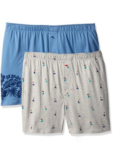 Tommy Bahama Men's 2 Pack Hula Girls & Floral Border Knit Boxer Set Girls/Floral