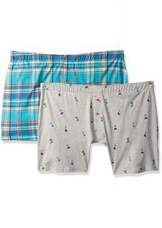 Tommy Bahama Men's 2 Pack Plaid & Hula Girls Knit Boxer Brief Set Plaid/Hula