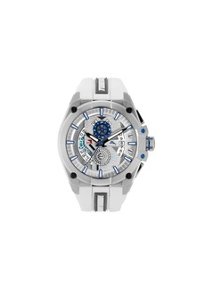 Tommy Bahama Men's Barracuda Bay Dual Time Sport White Silicone Strap Watch, 49mm