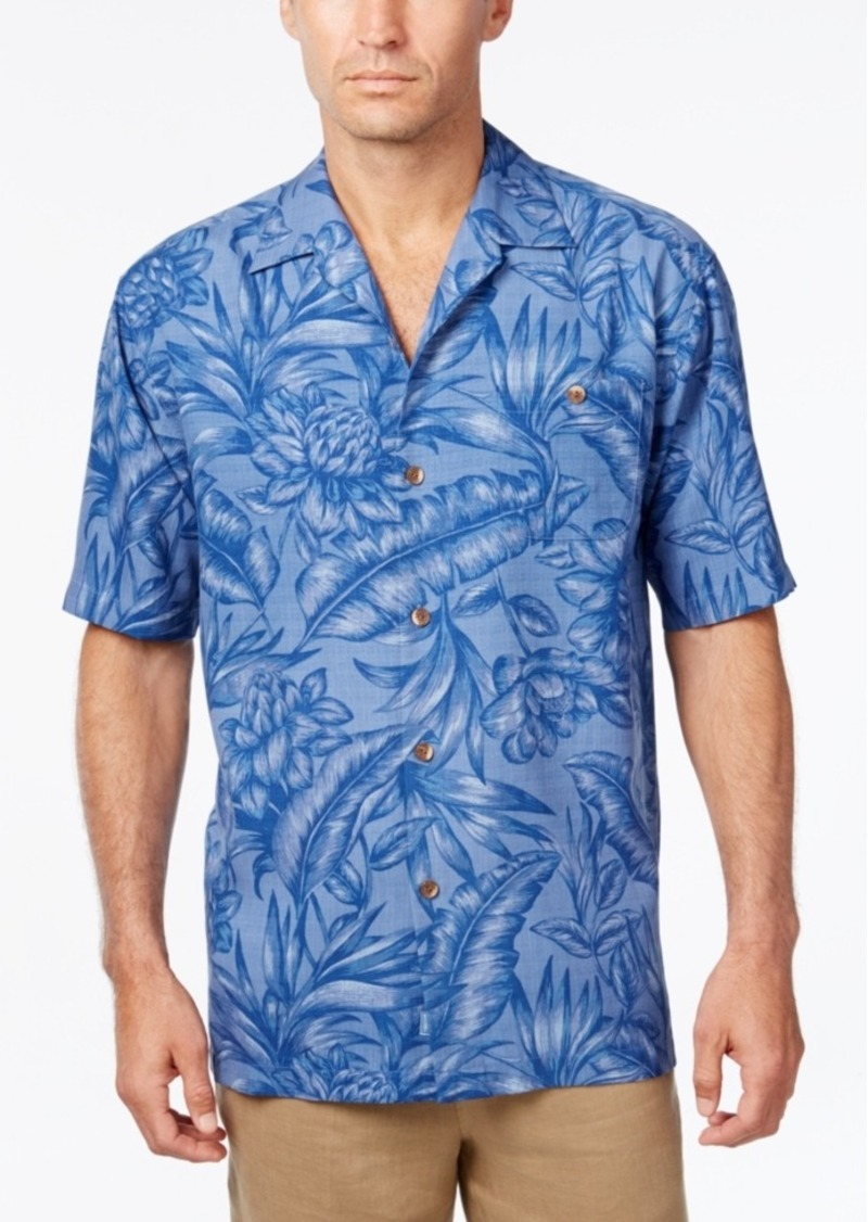 Tommy Bahama Men's Big & Tall Cayo Palms Floral-Print Silk Short-Sleeve Shirt