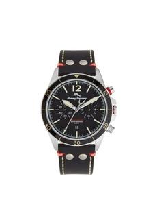 Tommy Bahama Men's Black Bay Black Leather Strap Watch, 44mm