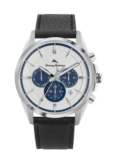 Tommy Bahama Men's Chronograph Silver-Tone Leather and Stee Starp Watch, 43mm
