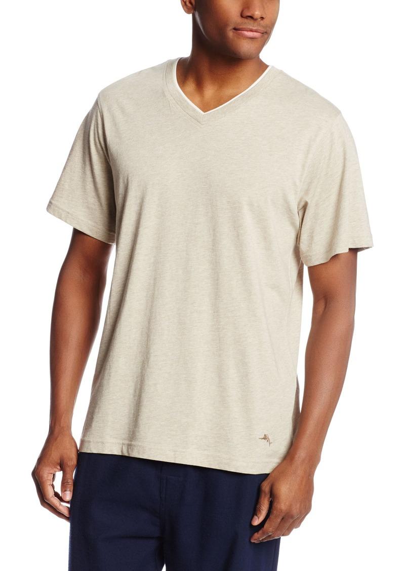 Tommy Bahama Men's Heather Cotton Modal Jersey Knit V-Neck T-Shirt Natural
