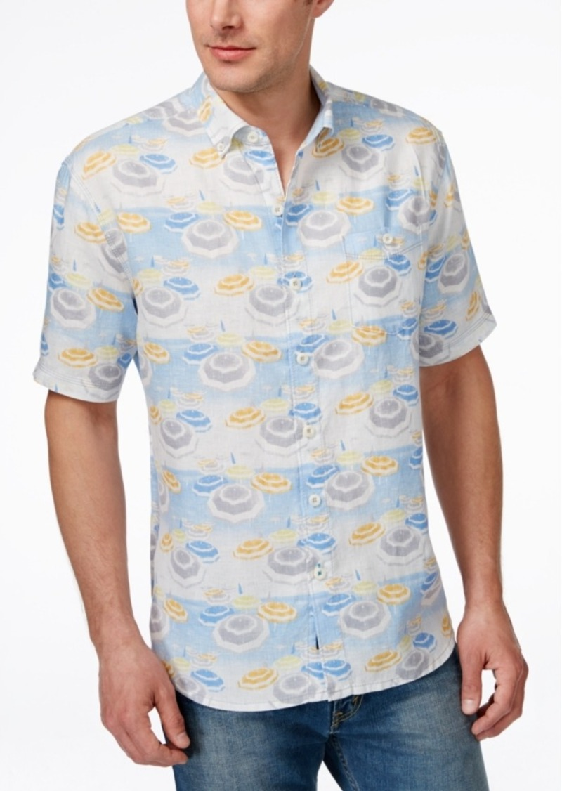 Tommy Bahama Men's Made In The Shade Linen Graphic-Print Short-Sleeve Shirt