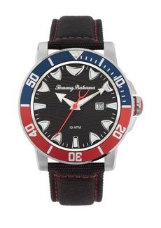 Tommy Bahama Men's Multi Colored Bezel Black Leather Strap Watch, 45mm