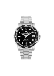 Tommy Bahama Men's Naples Cove Diver Silver-Tone Stainless Steel Bracelet Watch, 45mm