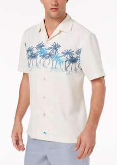Tommy Bahama Men's Puerto Vallarta Palms Embroidered Windowpane Jacquard Silk Camp Shirt