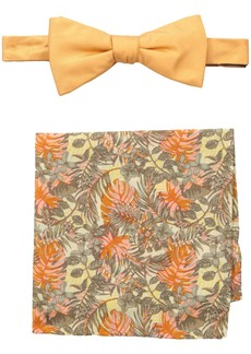 Tommy Bahama Men's Solid Bow Tie and Jungle Pocket Square Set