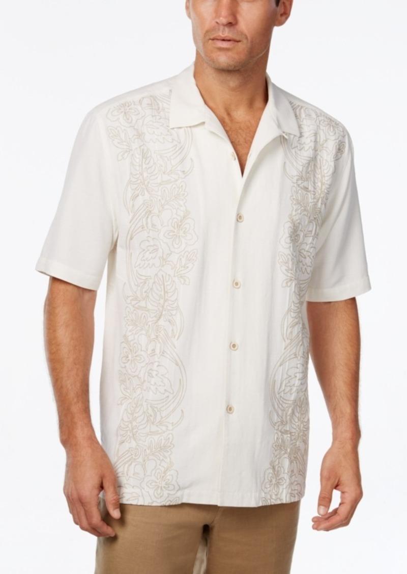 Tommy Bahama Men's Verdara Vines Floral-Embroidered Silk Short-Sleeve Shirt